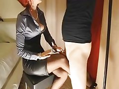 Mature redhead gives say no to following slut a footjob