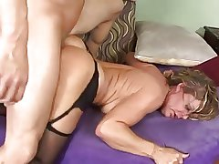 Hot Mature Cougar in Stockings and Heels Banging on Couch