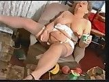 Chubby Superannuated Granny in Stockings Messy with Yogurt