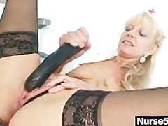 Old blonde milf contents pussy with huge dildo