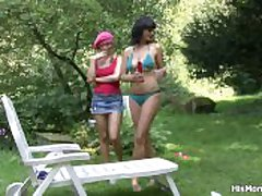 Busty mammy and teen lesbian drained guests intermittently