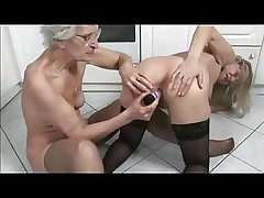 French of age and granny toying concerning the kitchen