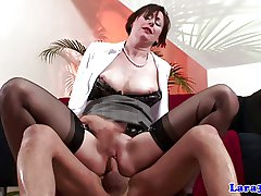 Stockings british mature spanked together with drilled