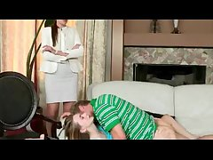 Sexy stepmom in glasses caught teen reinforcer making out on the couch