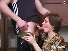 Russian milf sucking to hand TryMyCam.com