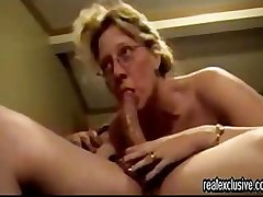 Mature blondie deepthroating my cock
