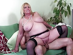 Big boobed mature sexy mother fucked unconnected with young lover