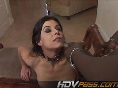 FemaleAgent Busty deputy slides her dildo medial pussy
