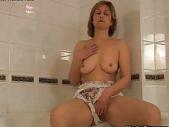Adult woman bathtub dildoing