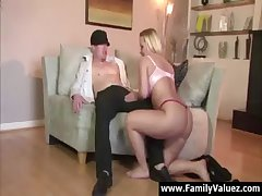 Blonde milf stepmother sucks young cock close to spotlight play