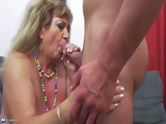 Hot rafter undressing with an increment of banging a grandma
