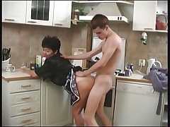 Of age Mom and her boy in the kitchen! Russian Amateur!