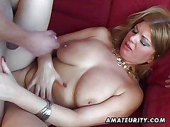 Bosomy amateur Milf anal hardcore with cumshot