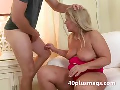 Chubby mart wife takes young stud