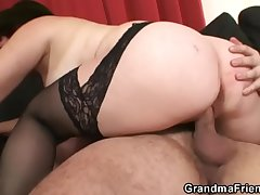 Poker carrying-on granny swallowing several big cocks