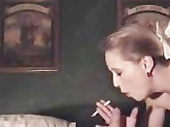 Sexy roughtalking cougar smoking making love