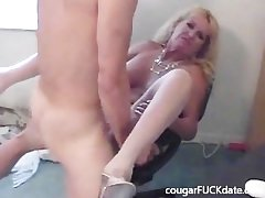 Hot Granny cougar close to nylons fucks a young stud