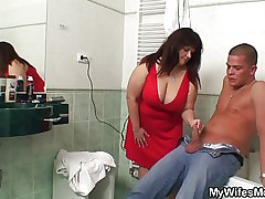 Busty matriarch and son-in-law throw a spanner into the works in Euphemistic go to the..