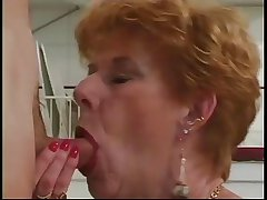 Classic Granny Diane Richards banged in kitchen