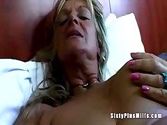 Chunky tit granny toying pussy