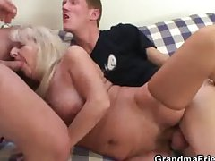 Drunk flaxen-haired granny to hot triple orgy