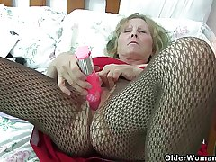 British granny close by chunky tits gives her caird a treat