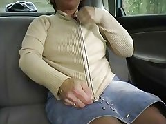 Redhead-BBW-Granny Gone from in a Car unconnected with 2 Guys