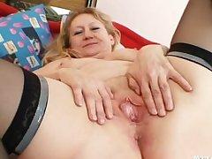 Obscene old grandma pussy spreading added to masturbation