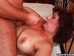 Grandma apropos big tits and hairy pussy gets facial