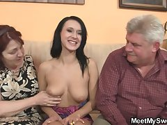 Innocent wholesale is seduceed by granny and fucked by daddy
