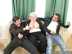 Four buddies bang drunk old whore