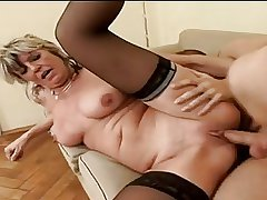 Hot Granny Alena Sits On Face Together with Takes A Chunky One