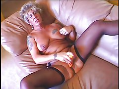 Hot titillating granny masturbates and get fucked before a obese load