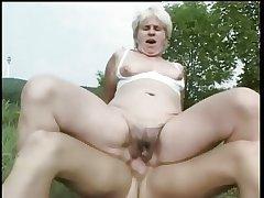 Granny Fucked in a Yard