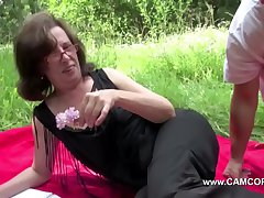 Mammy get niminy-piminy outdoor by young men and bonk hard