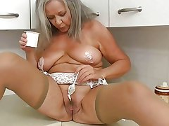 Sultry grandma take kitchen