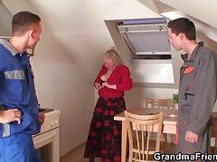Aged widow marines two repairmen