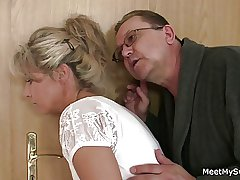 She spreads her legs for his elderly parents