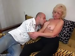 Oldnanny elderly and young strapon pumping and masturb