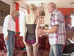 She rides her BF's dad cock and mammy helps