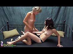 OldNanny Pretty teen sweeping is bringing off forth aged grandma forth sextoy strapon