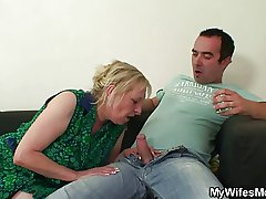 Unrestrained oldie seduces him while his wife away