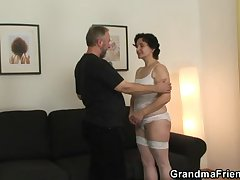 Old bitch takes one cocks after pussy toying