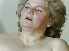 chubby tow-haired granny with hairy pussy