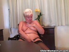 Chubby granny in all directions stockings plays all over vibrator