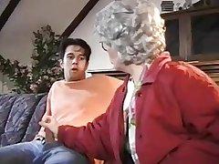 Grandma watched the masturbation of the grandson.
