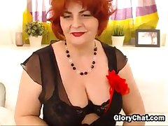 Obese Red Haired Granny Strips