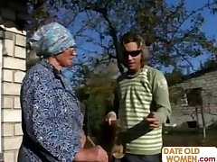 Granny Gets Reamed At the end of one's tether Young Stud Outdoors
