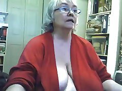 Chunky saggy granny strips and masturbates on webcam