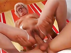 Dispirited Short Haired Granny With Hairy Pussy